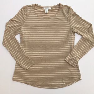 Gold metallic stripe long sleeve top by WHBM sz S